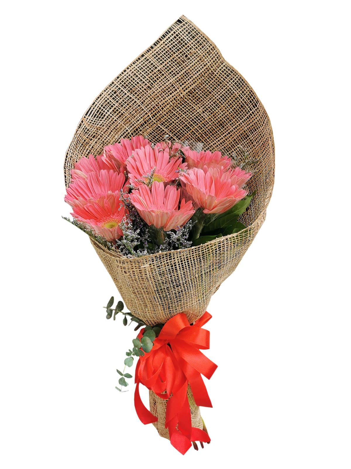 10 Fuschia Pink Gerbera Burlap ph
