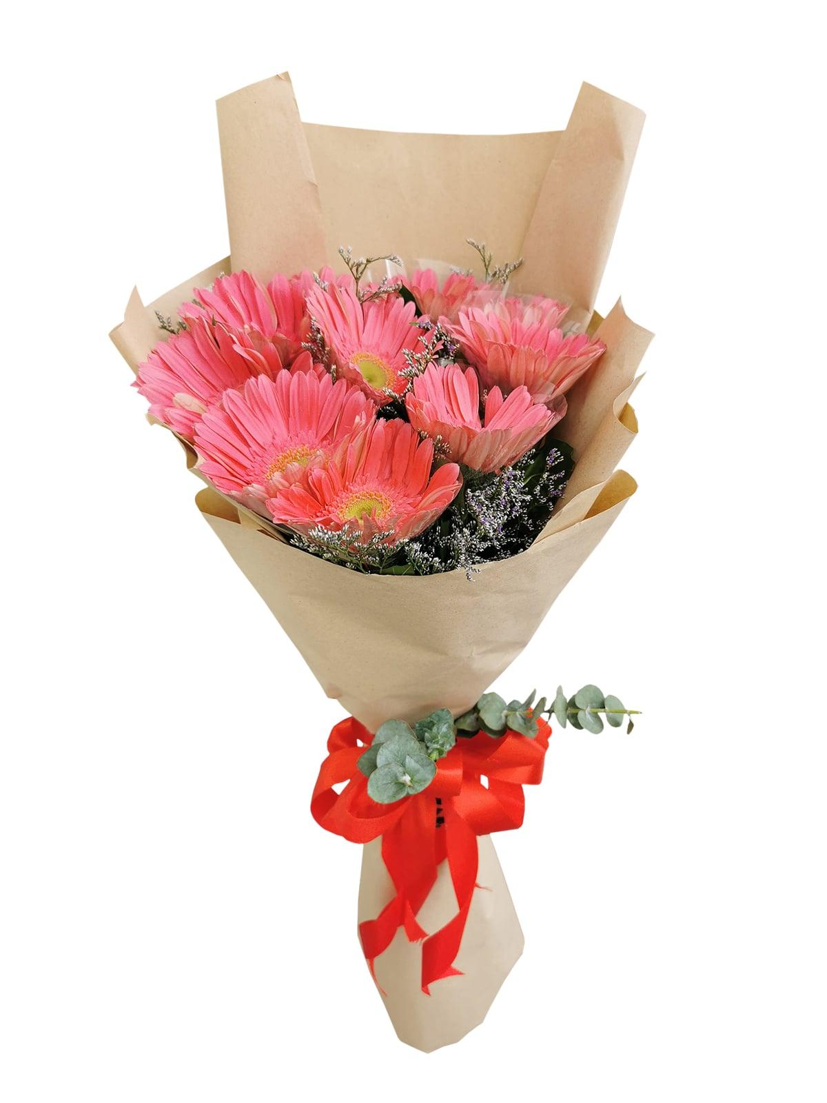 10 Fuchsia Pink Gerbera Kraft Paper
