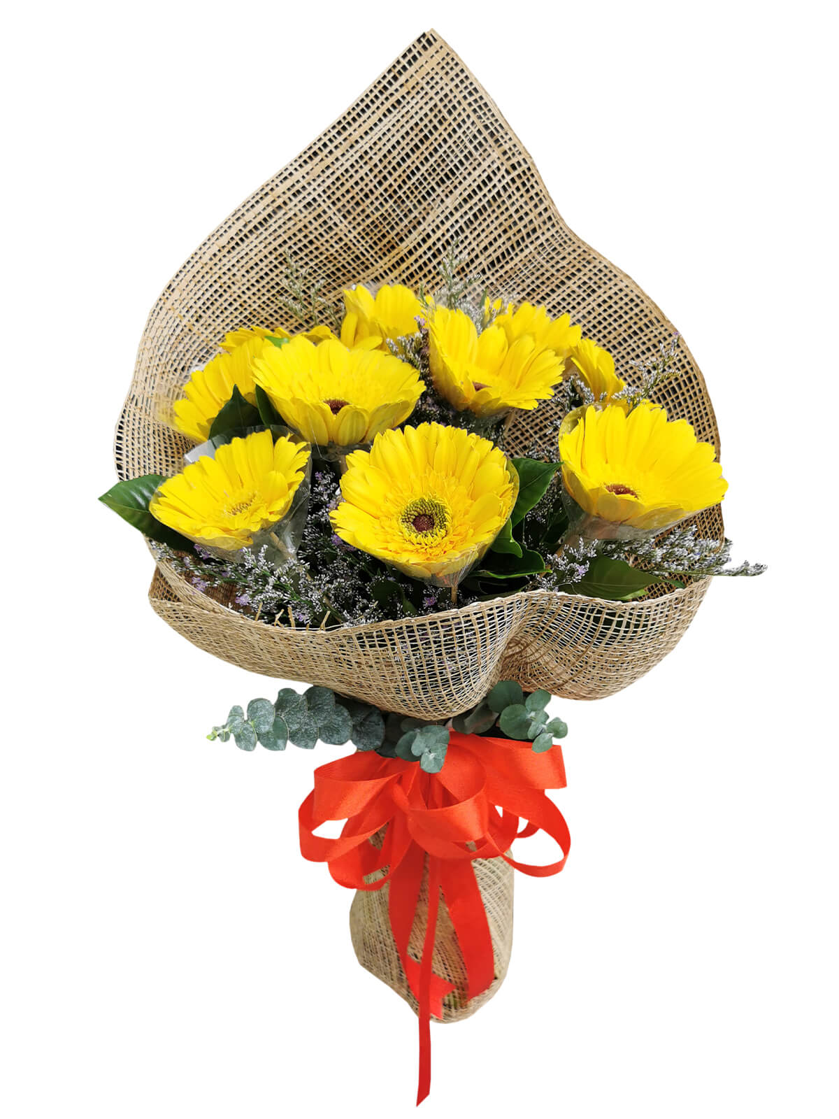10 YELLOW Gerbera Burlap ph