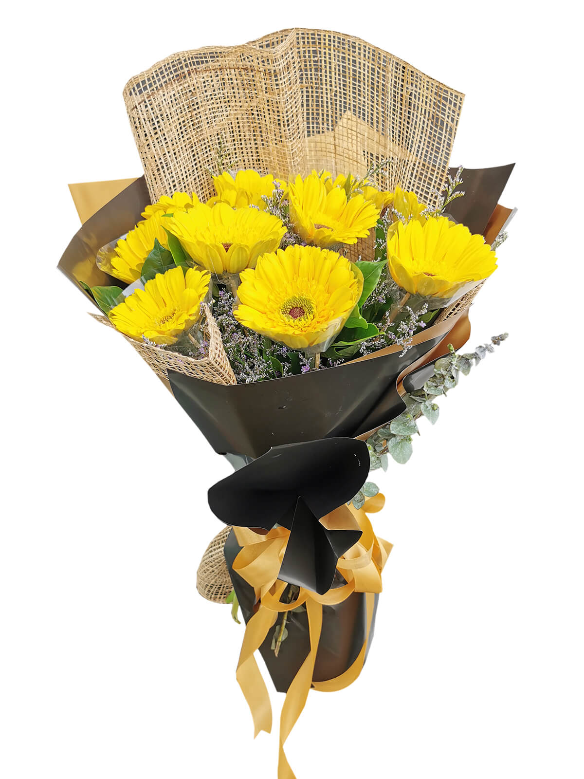 10 YELLOW Gerbera y10-burlap-ph-bg