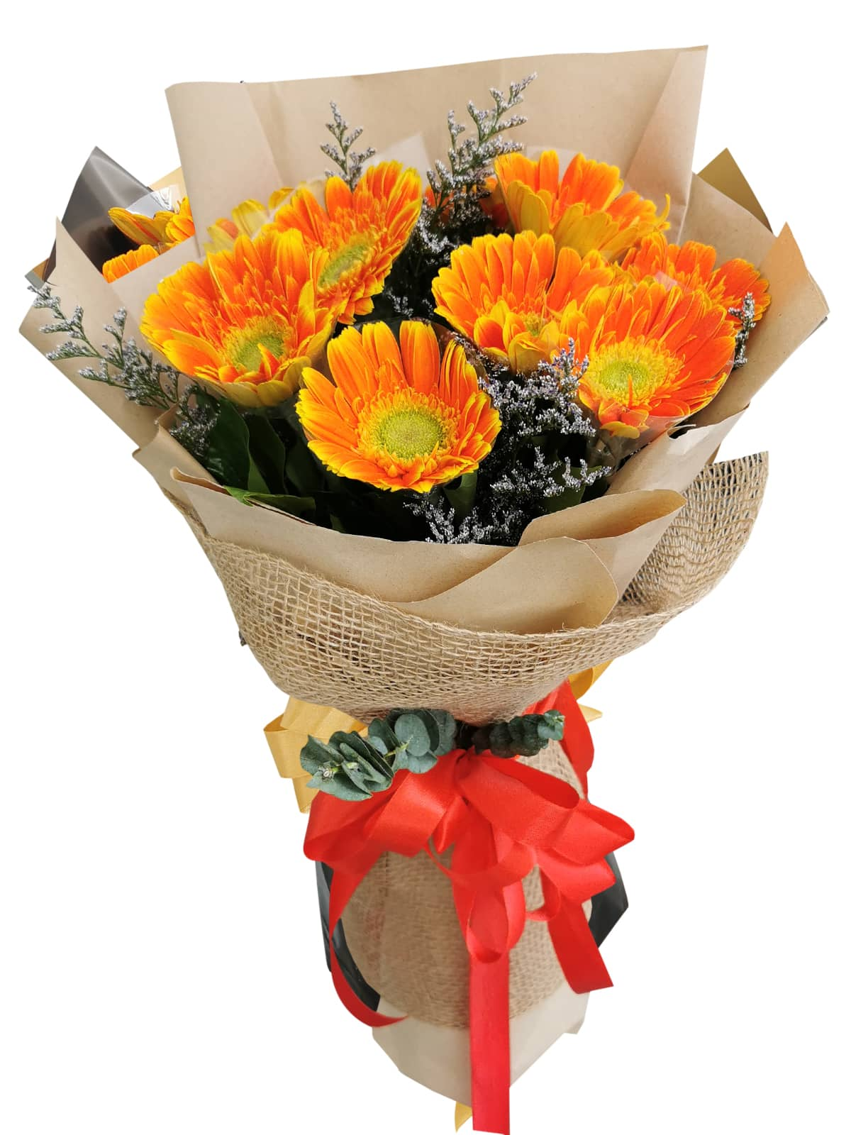 ORANGE Gerbera Kraft Jute