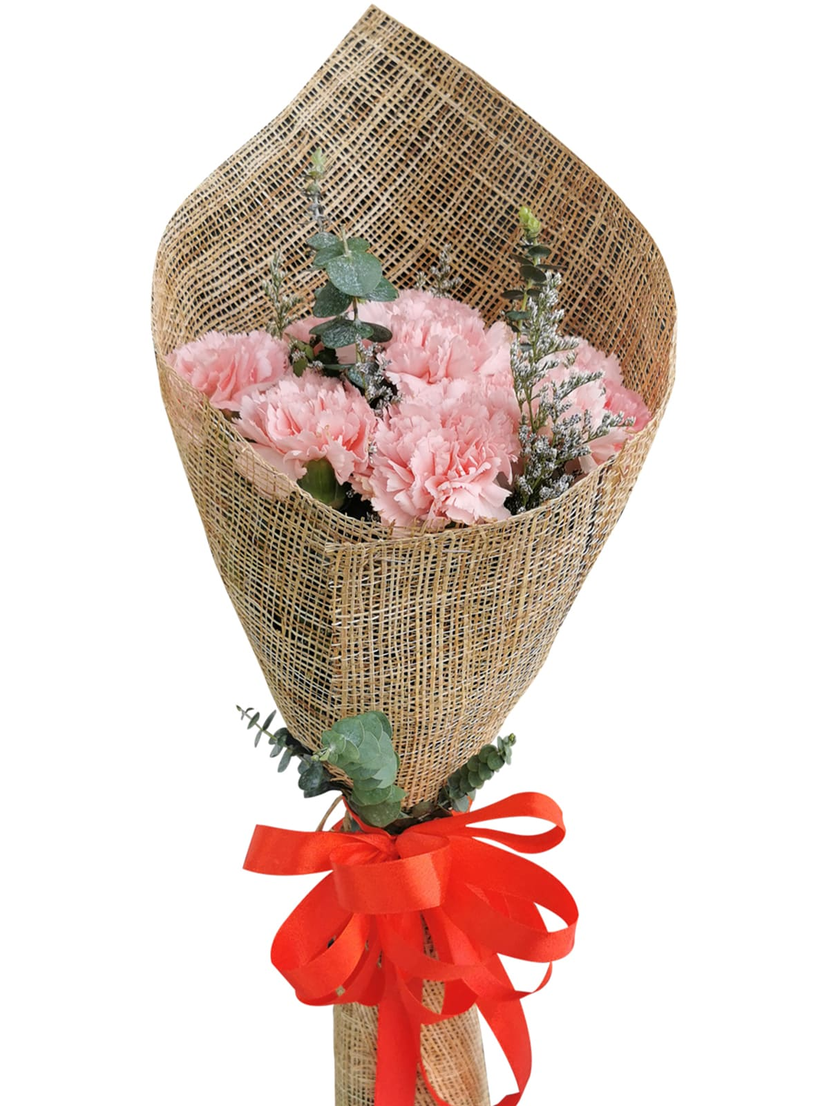 PINK Carnation Burlap ph