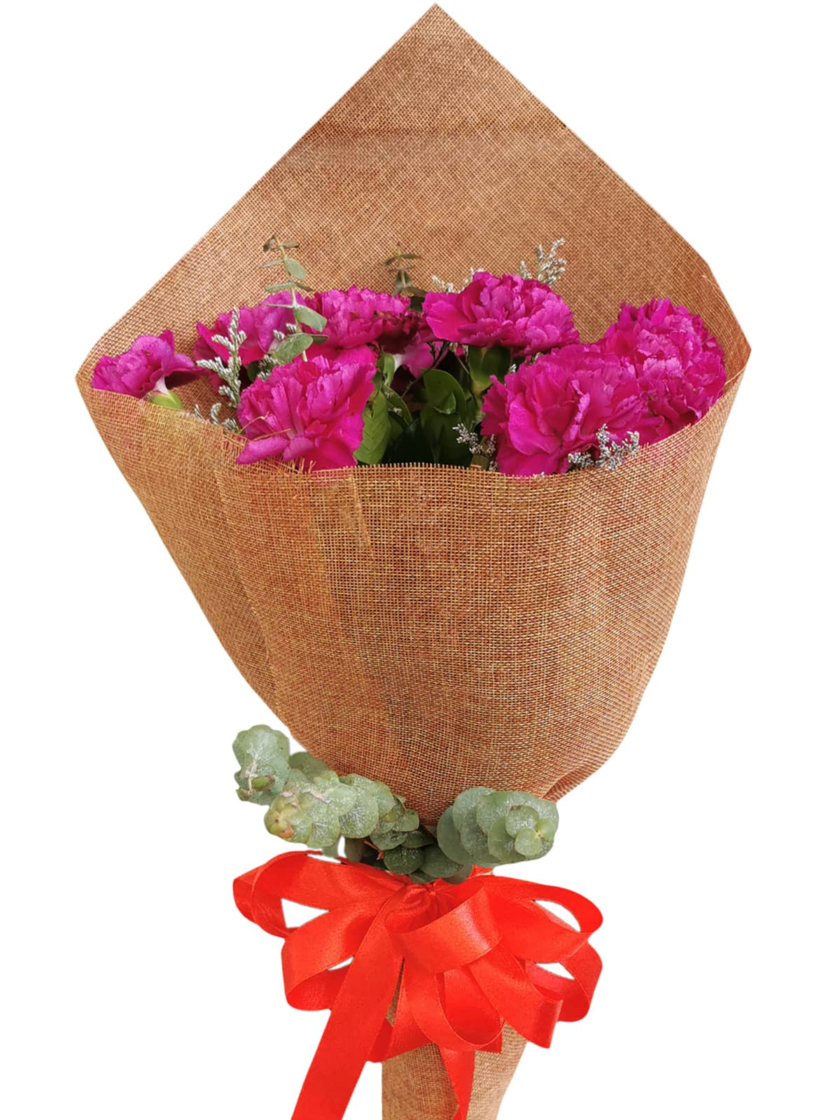 PURPLE Carnation Burlap ch