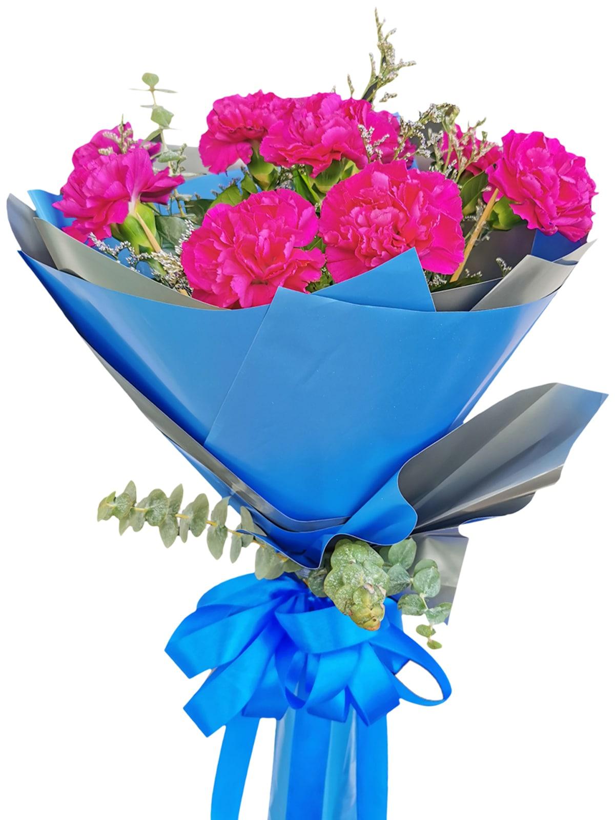 PURPLE Carnation Korean Blue Silver