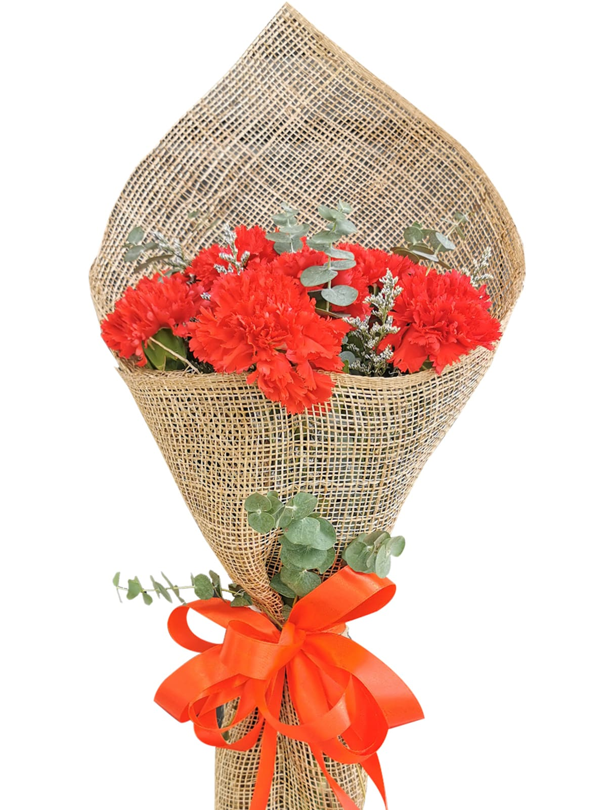 RED Carnation Burlap ph