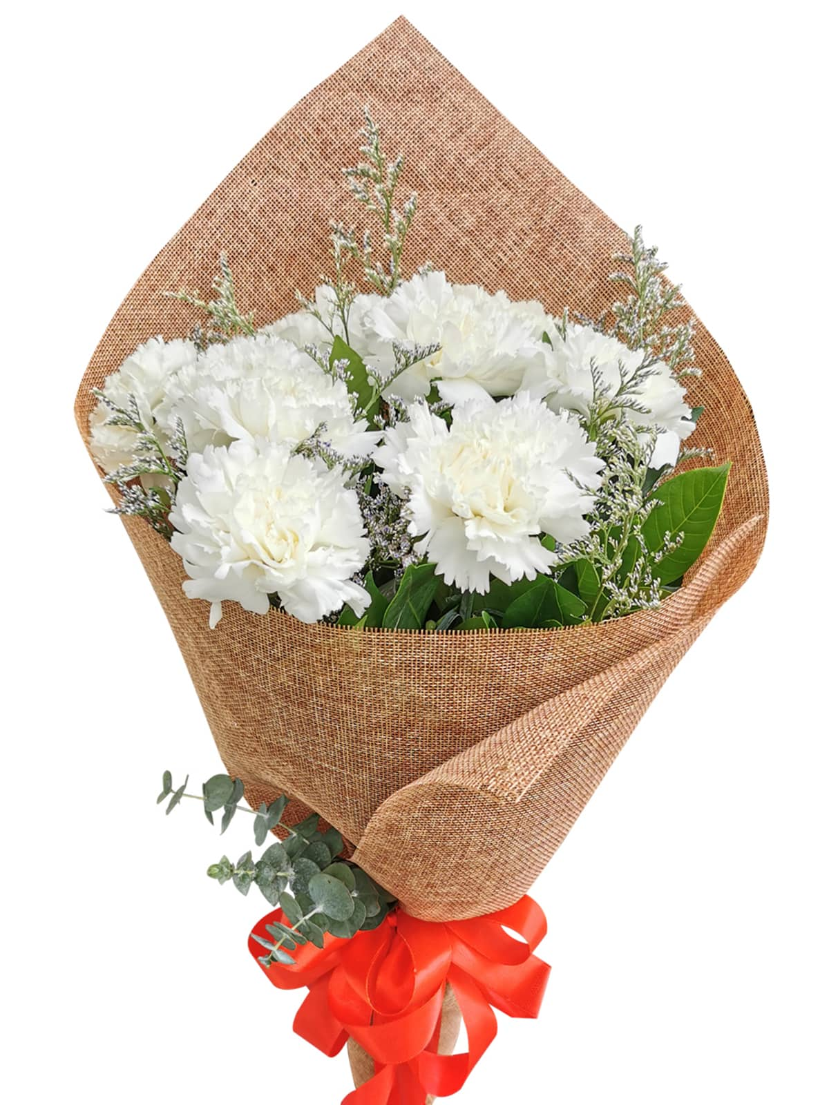 WHITE Carnation Burlap ch
