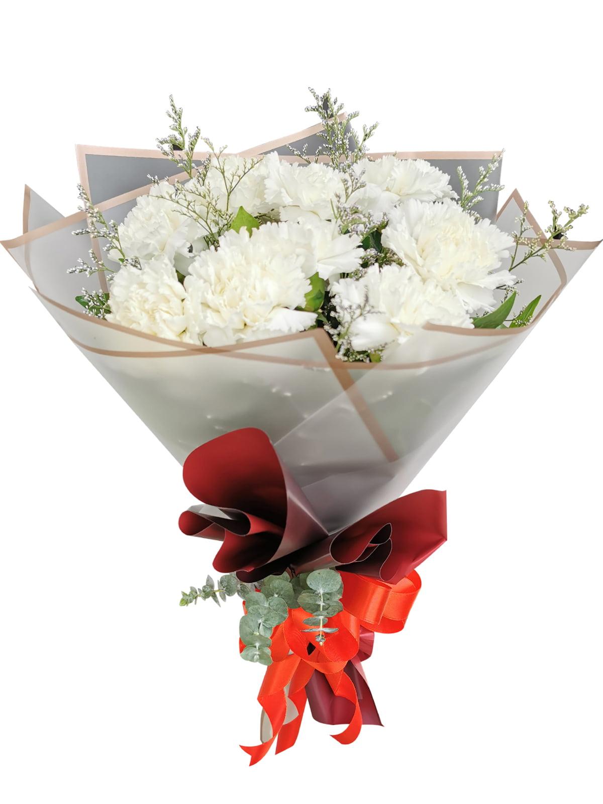 WHITE Carnation Korean White Maroon