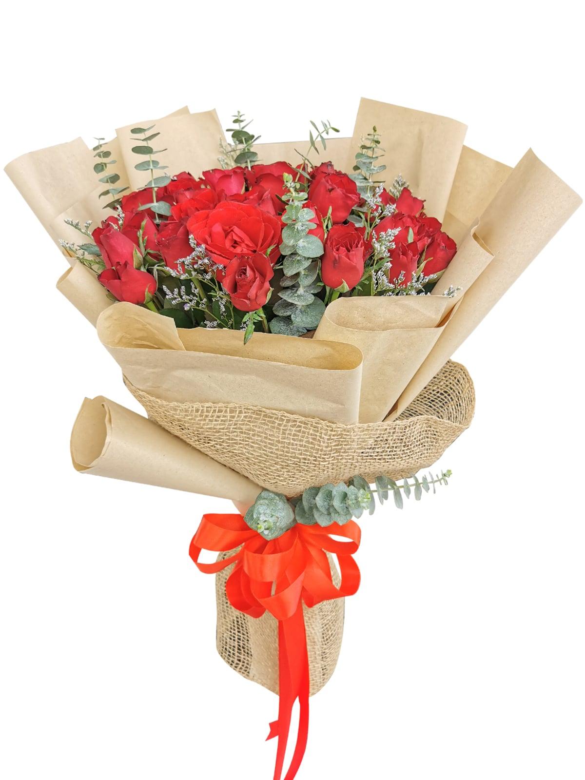 Red Roses 36 Kraft Jute