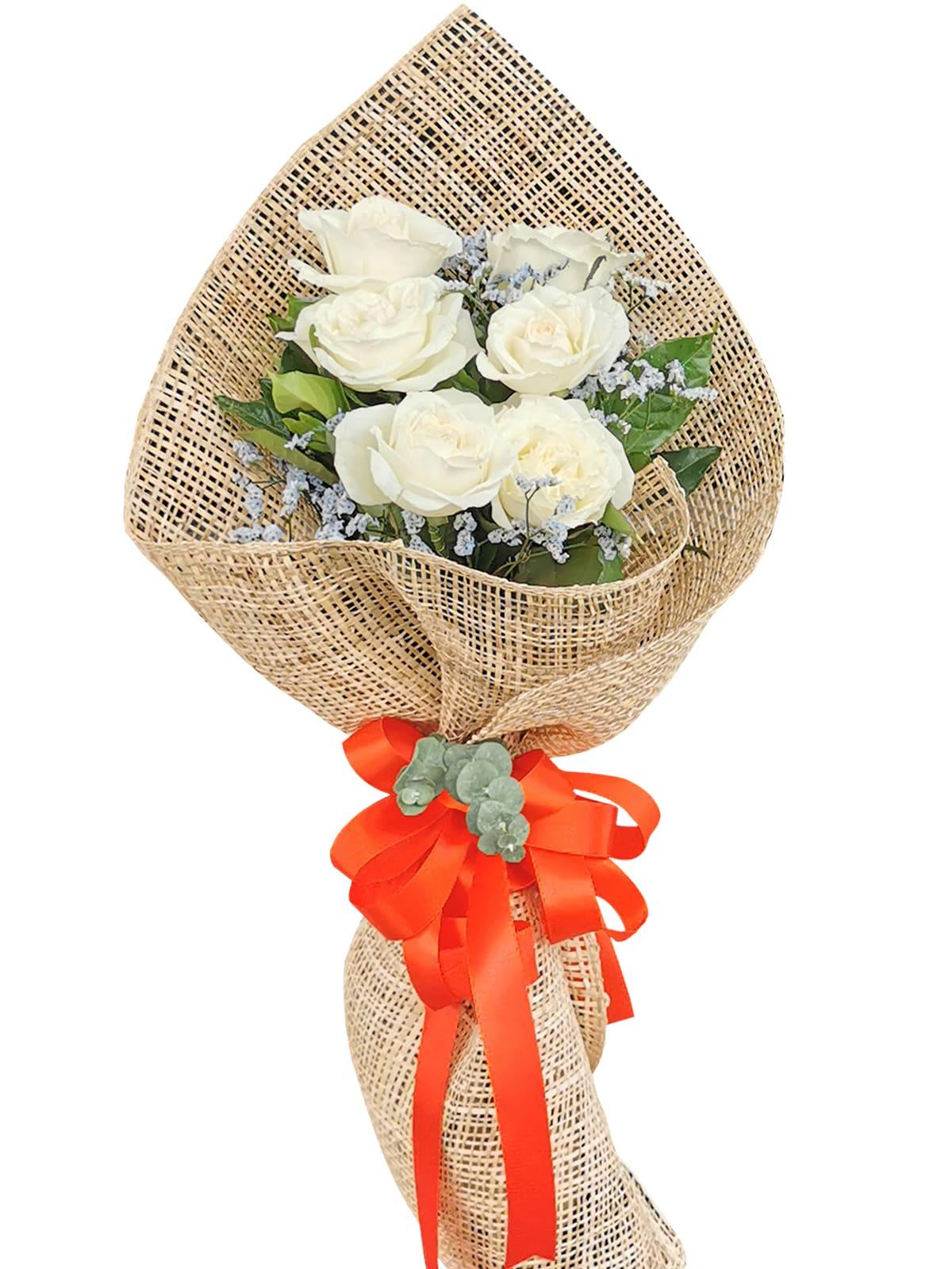 White Rose 6/12 Burlap ph