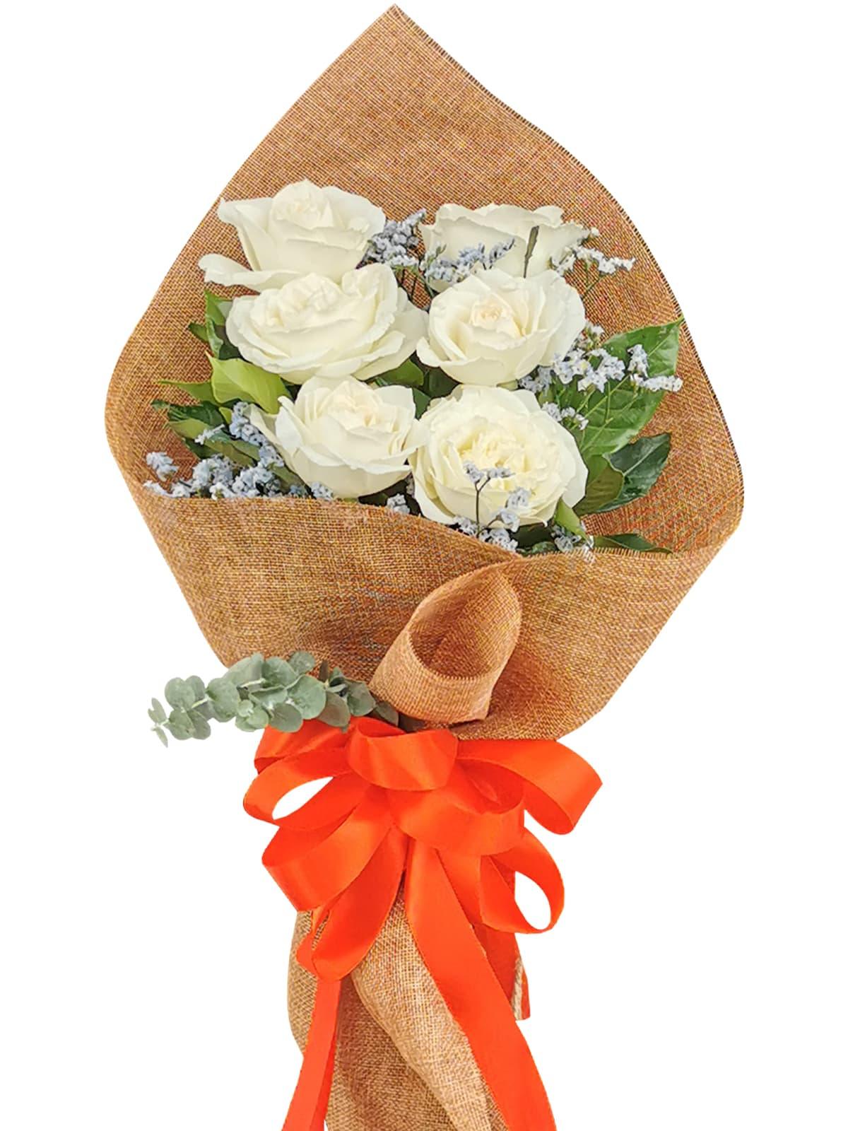 White Rose 6/12 Burlap ch
