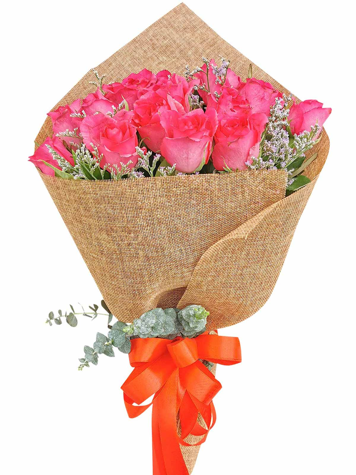 Pink Roses 24 Burlap CH