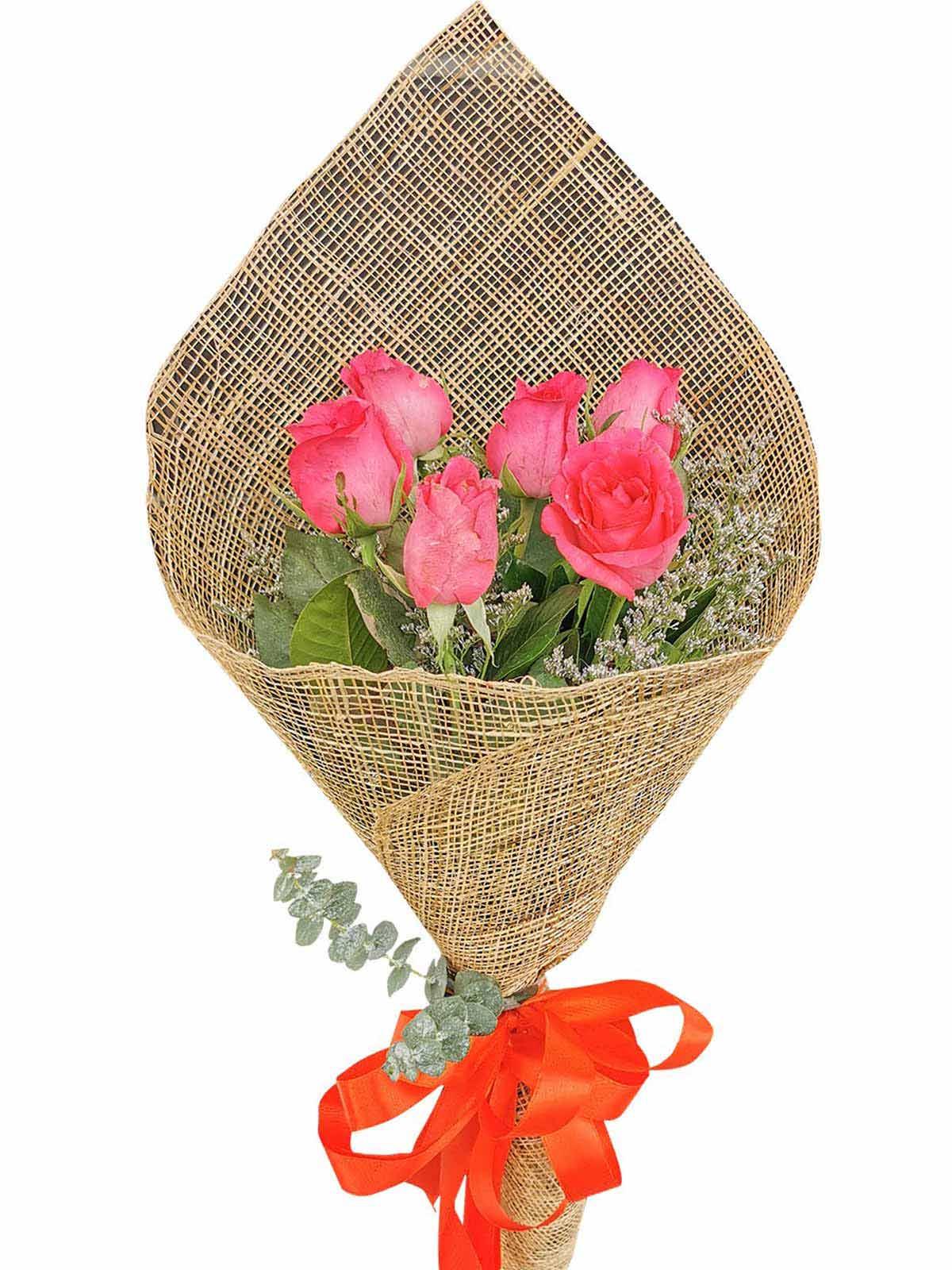 Pink Roses 6 Burlap PH