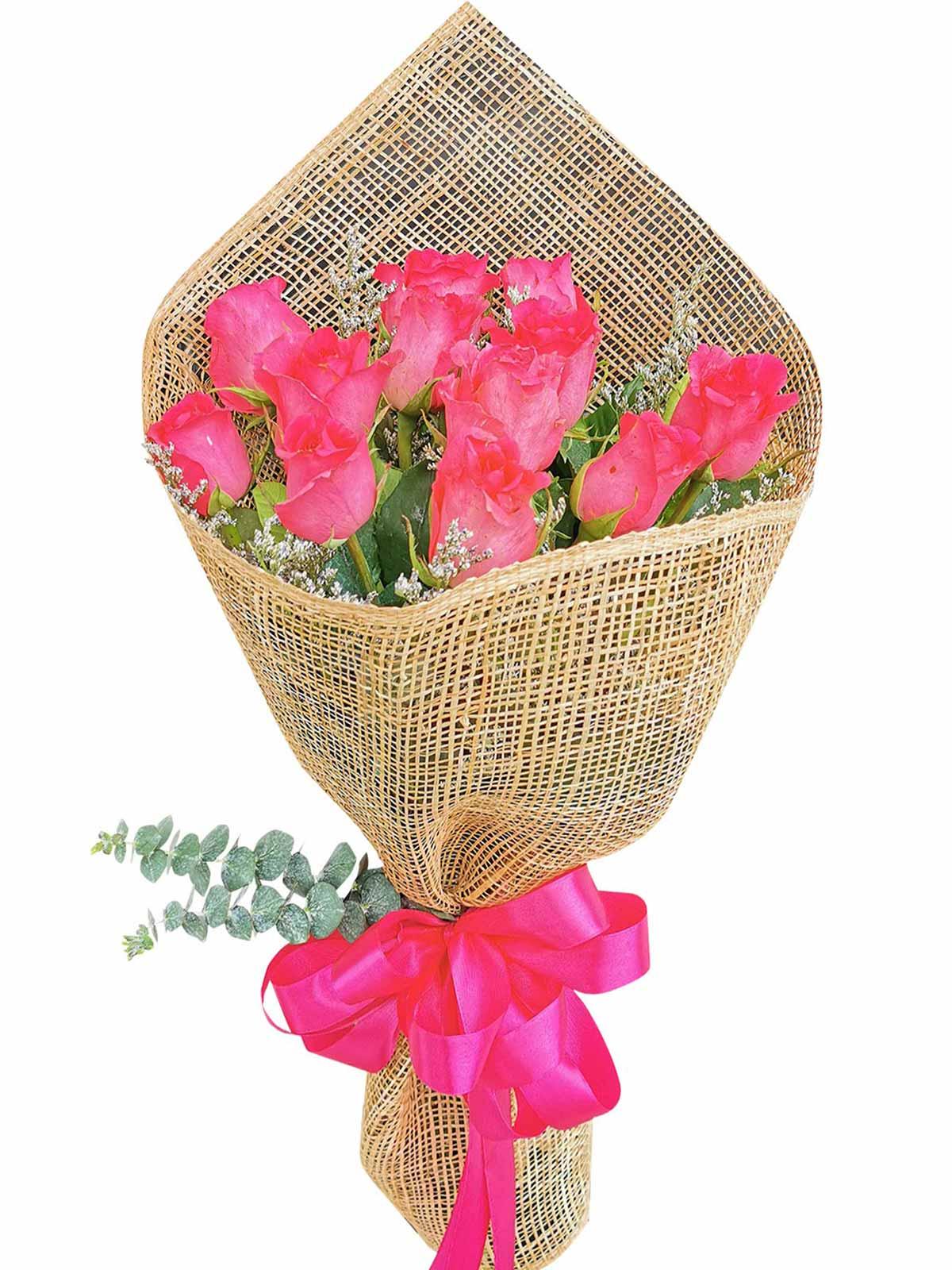 Pink Roses 12 Burlap PH