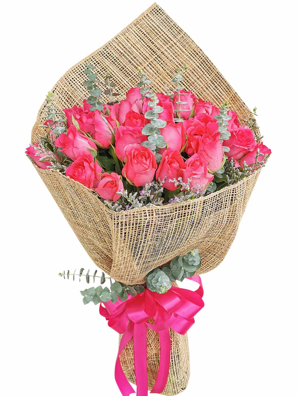 Pink Red Roses 36 Burlap PH