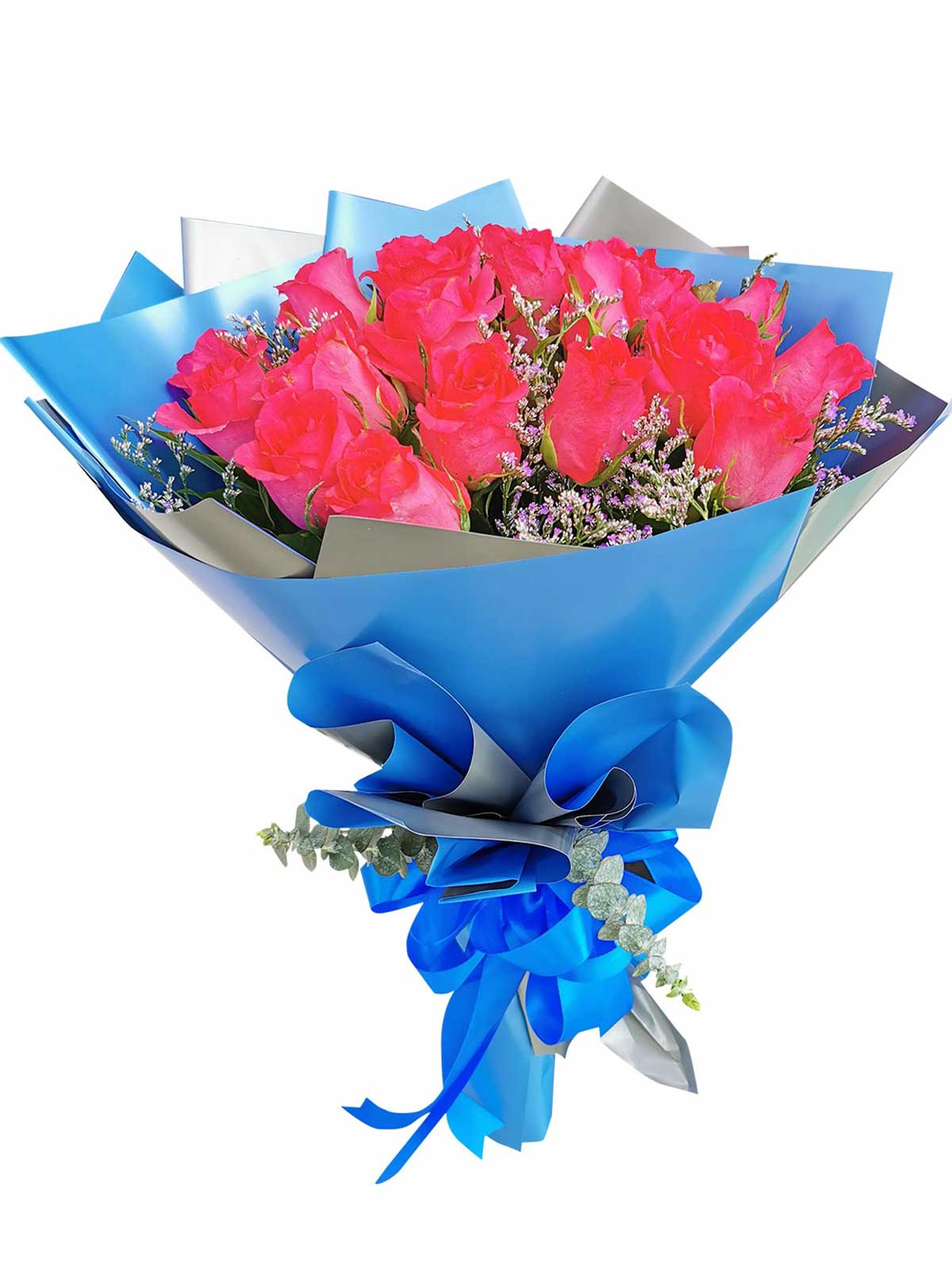 Pink Roses 24 Korean Blue Silver