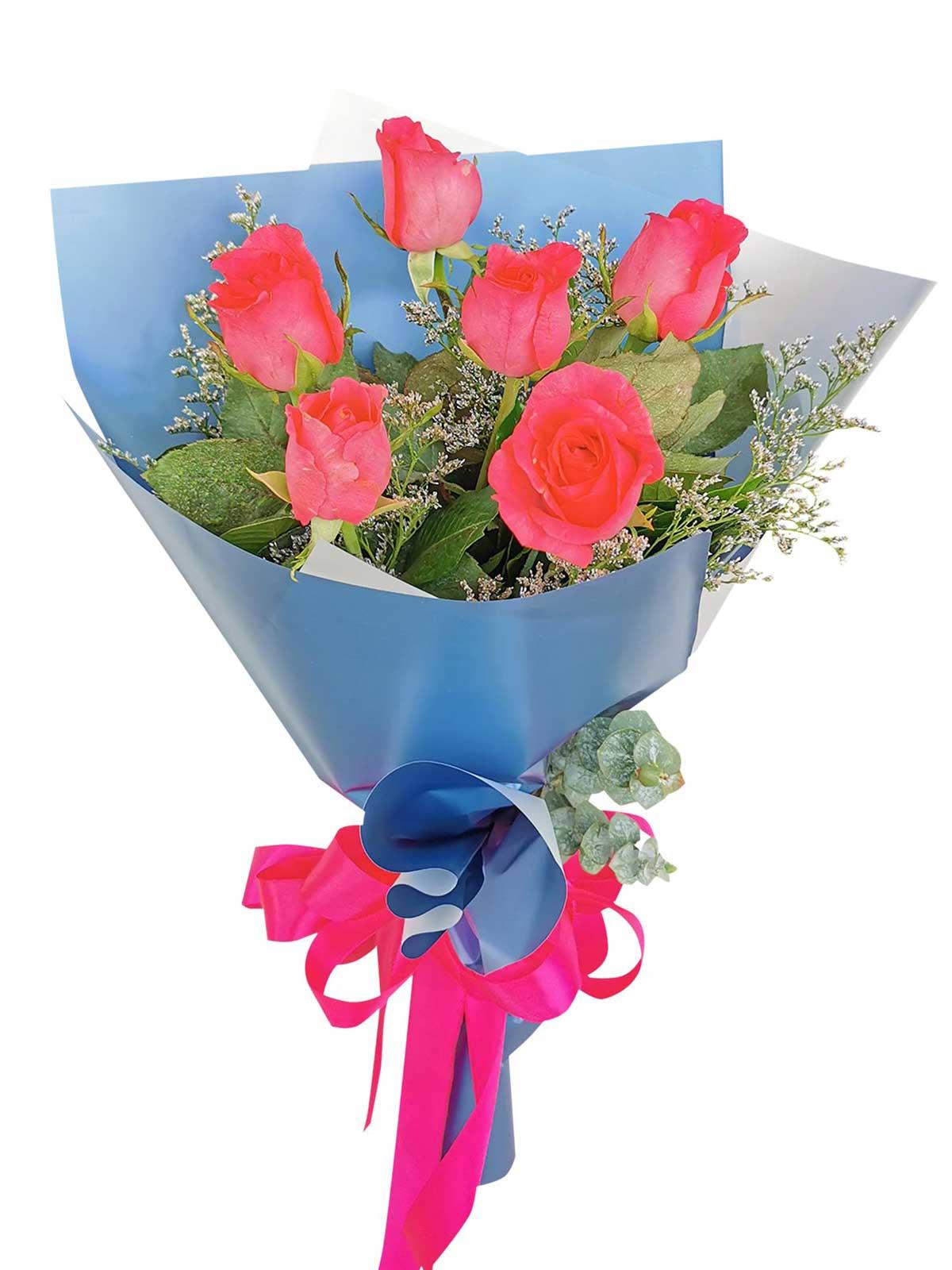 Pink Roses 6 Korean Blue Silver
