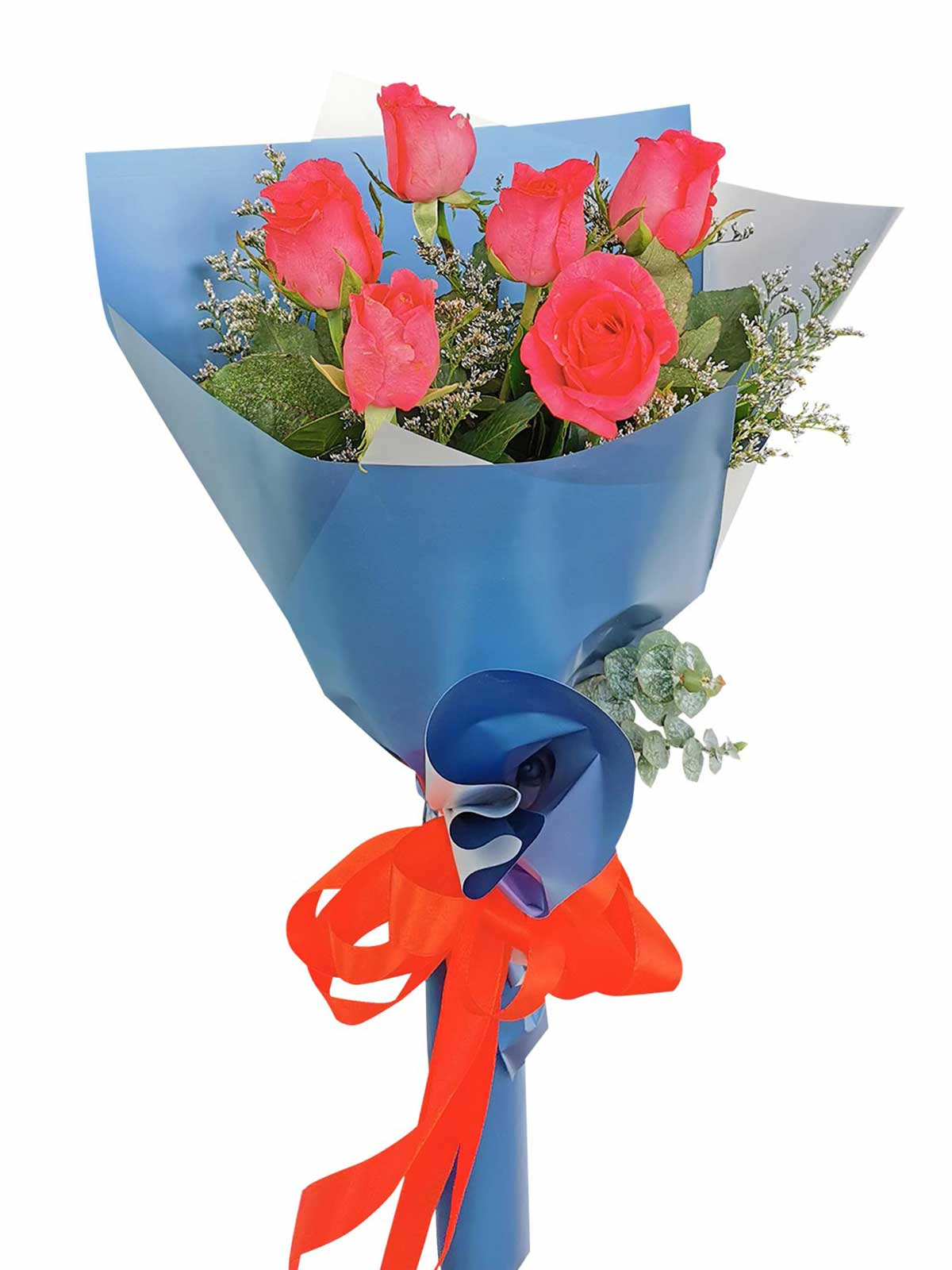 Pink Roses 6 Korean Blue Silver