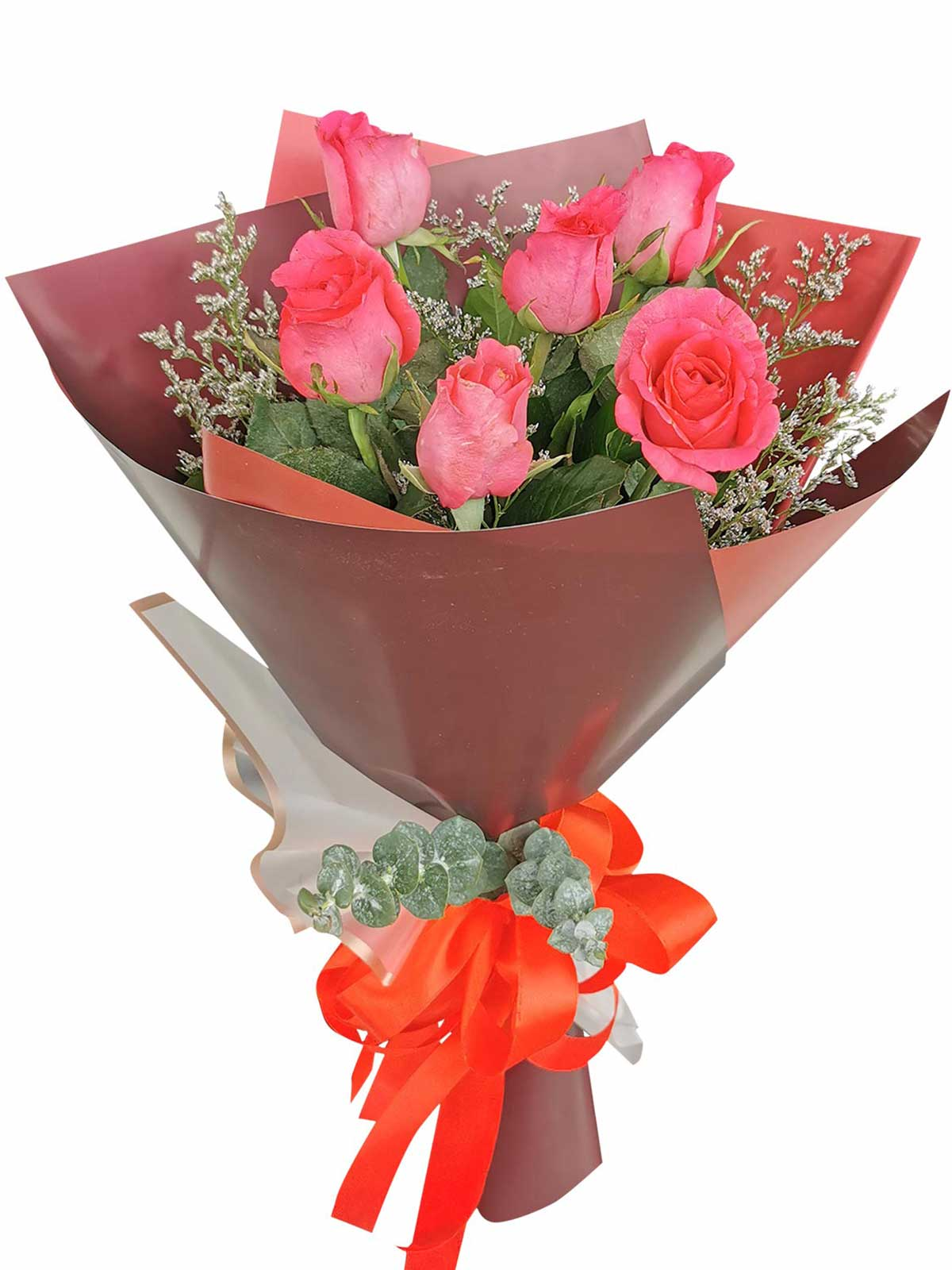 Pink Roses 6 Korean Maroon White