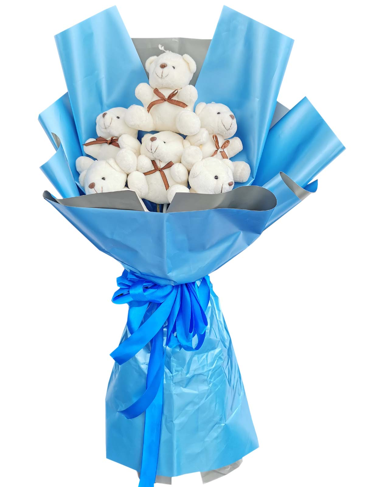 Small White Bears 6 Blue Silver