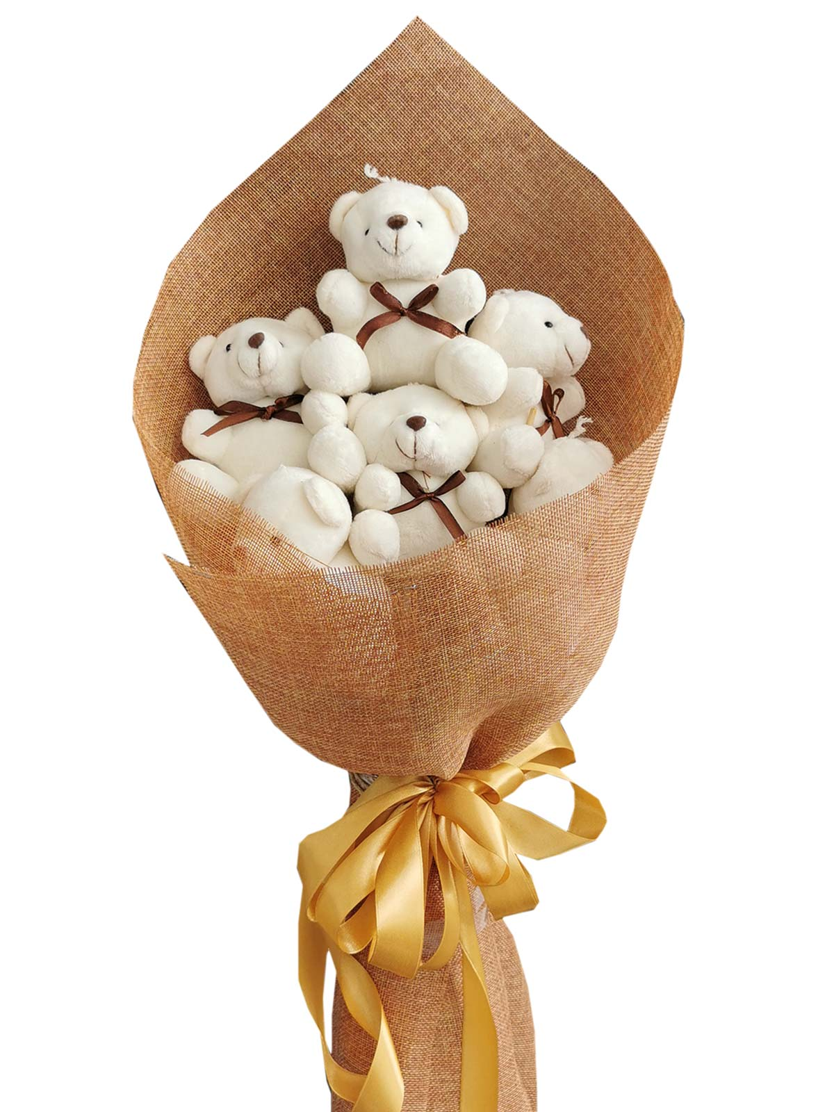 Small White Bears 6 Burlap CH
