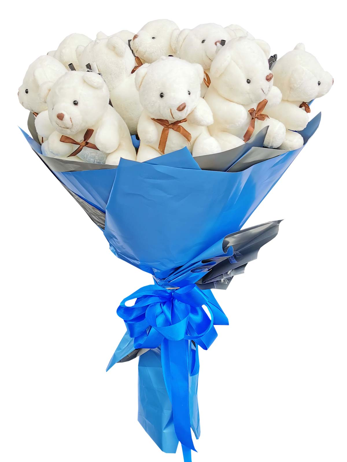 Small White Bears 12 Blue Silver