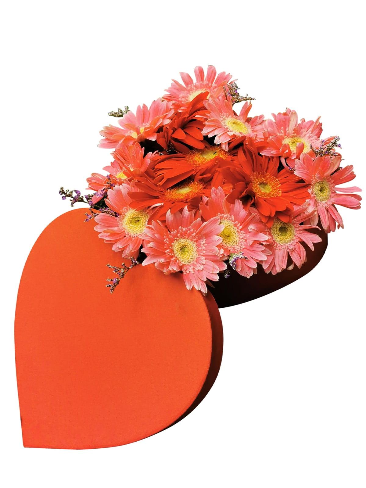 54 Mixed Gerbera Heart Love Box