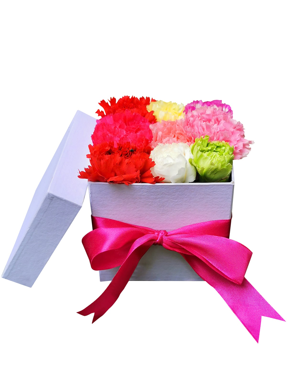 121 Mixed Carnation Love Box 002