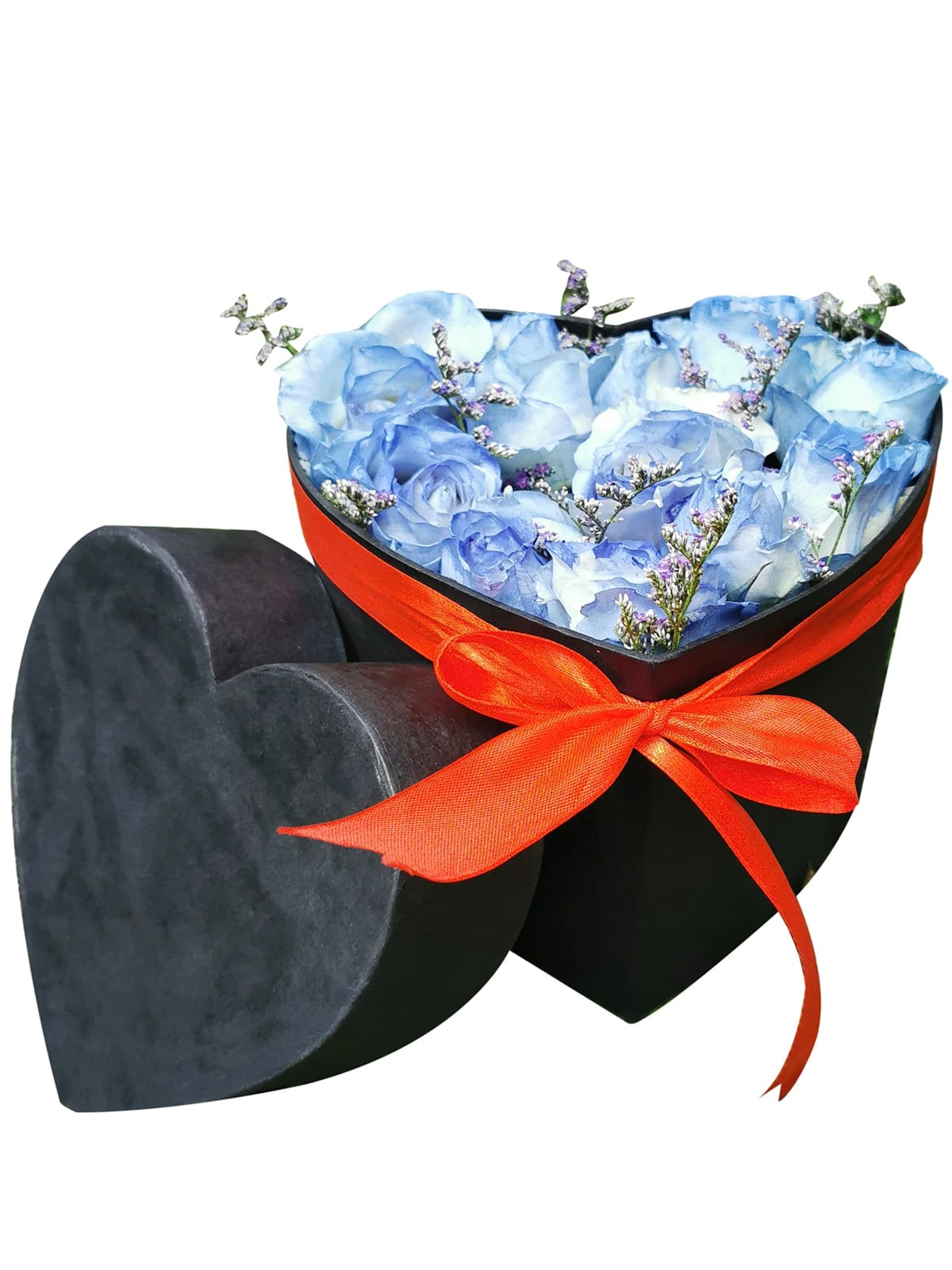 Blue Roses Heart Love Box