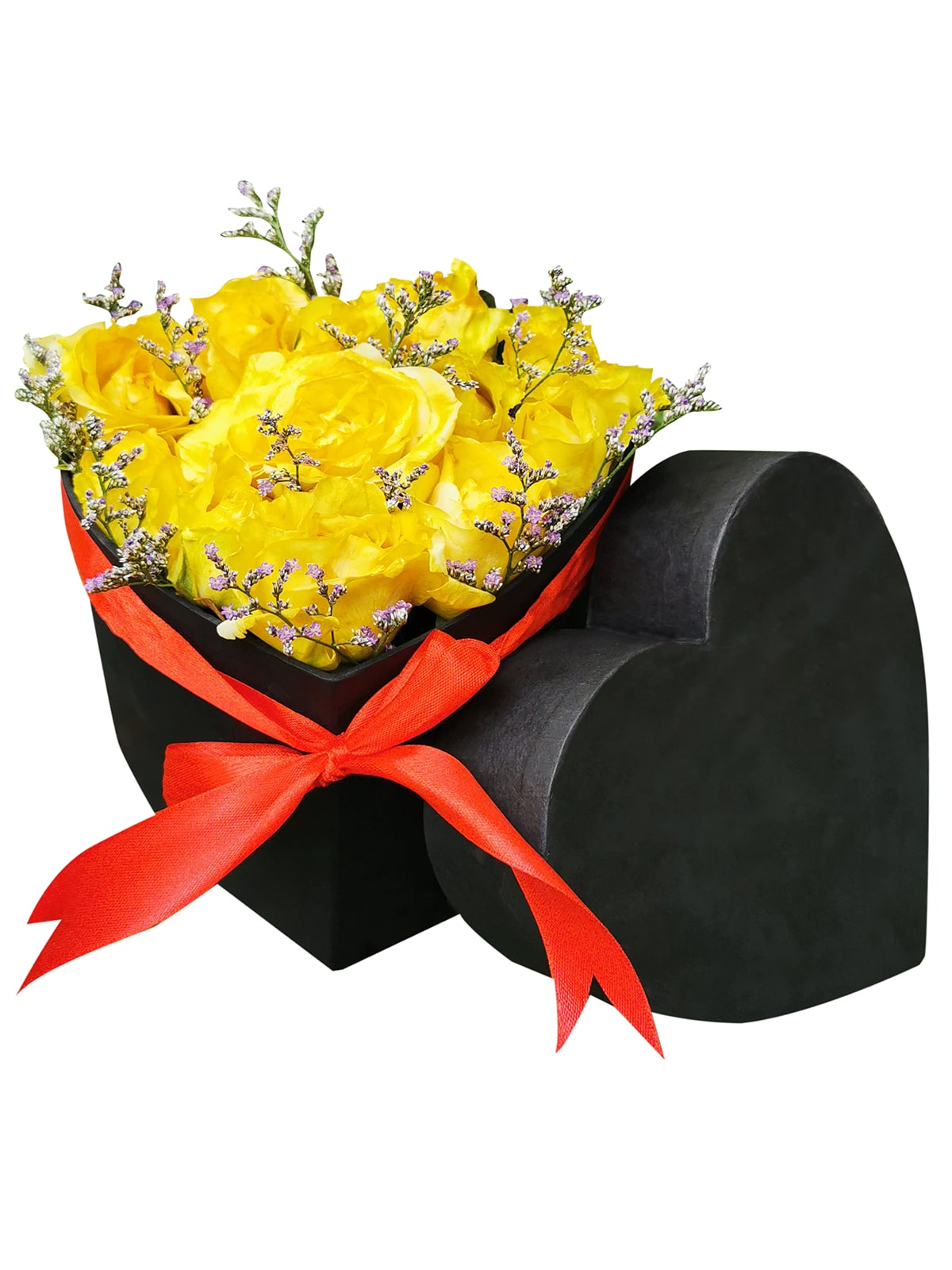 Yellow Roses Heart Love Box