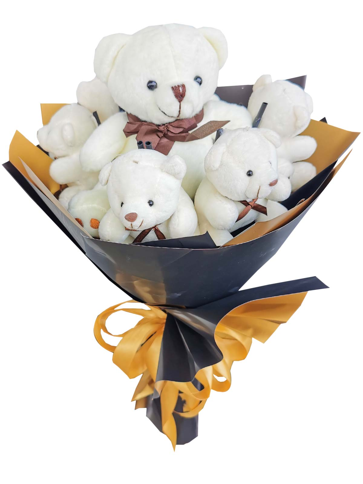 Big White Bear and  6 Small White Teddy Bears;
