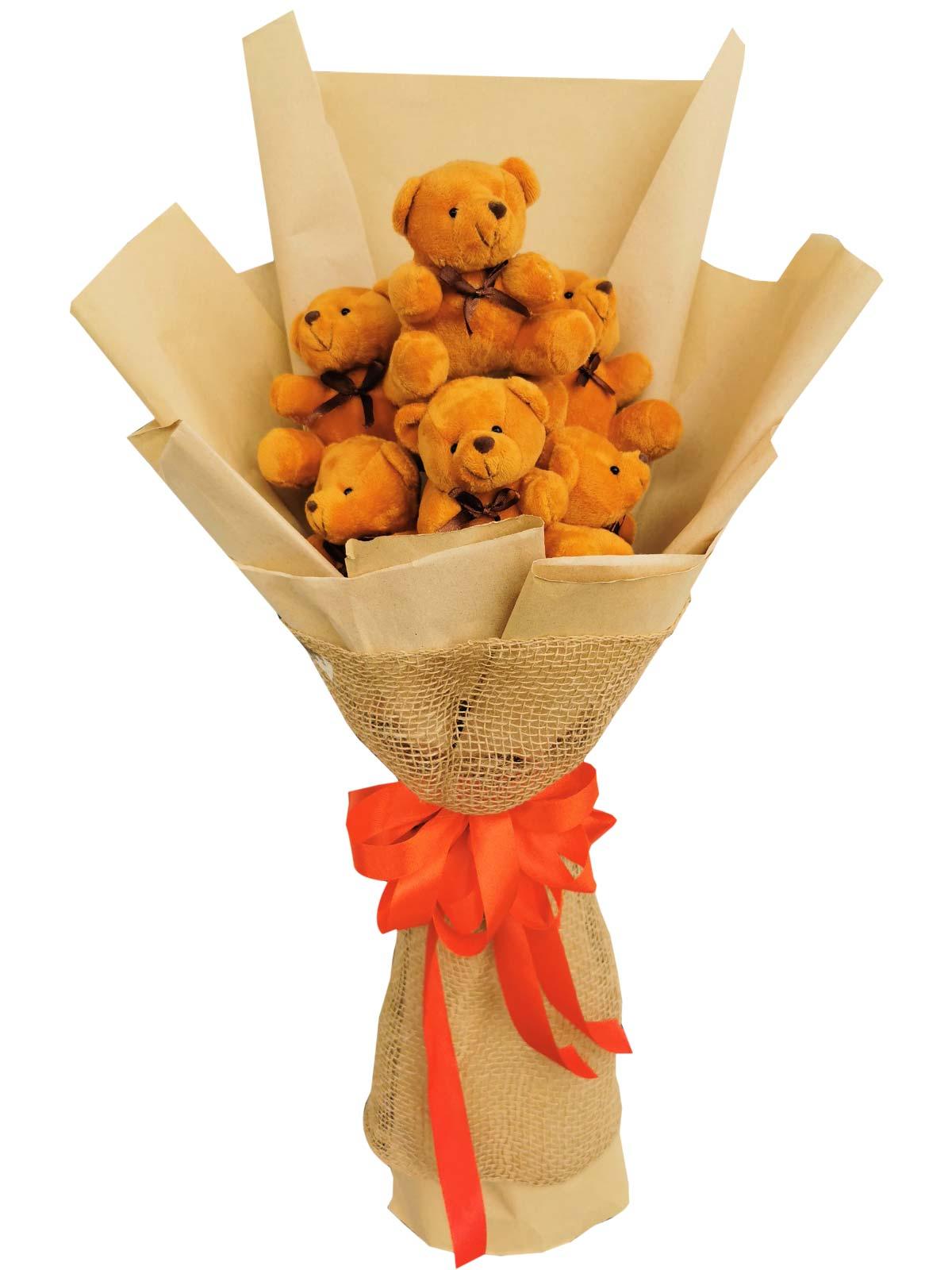 6 Small Brown Teddy Bears; W: Kraft & Jute