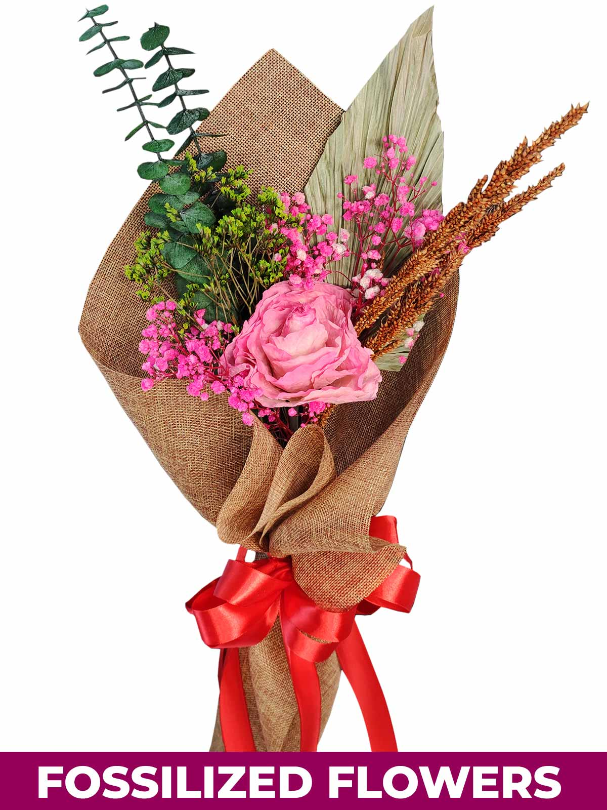 1 Dried Pink Rose Burlap CH Province