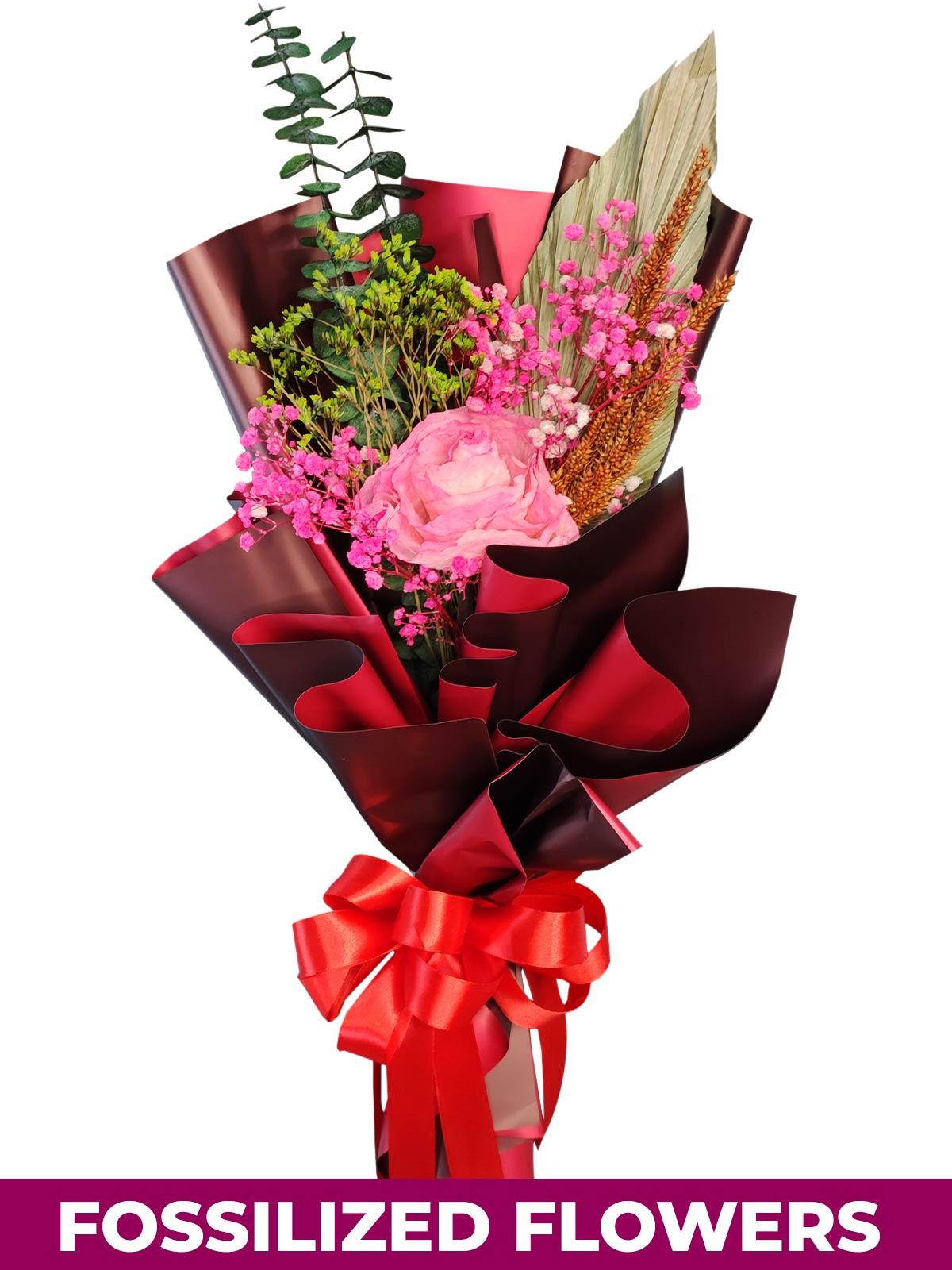 1 Dried Pink Roses Maroon Province
