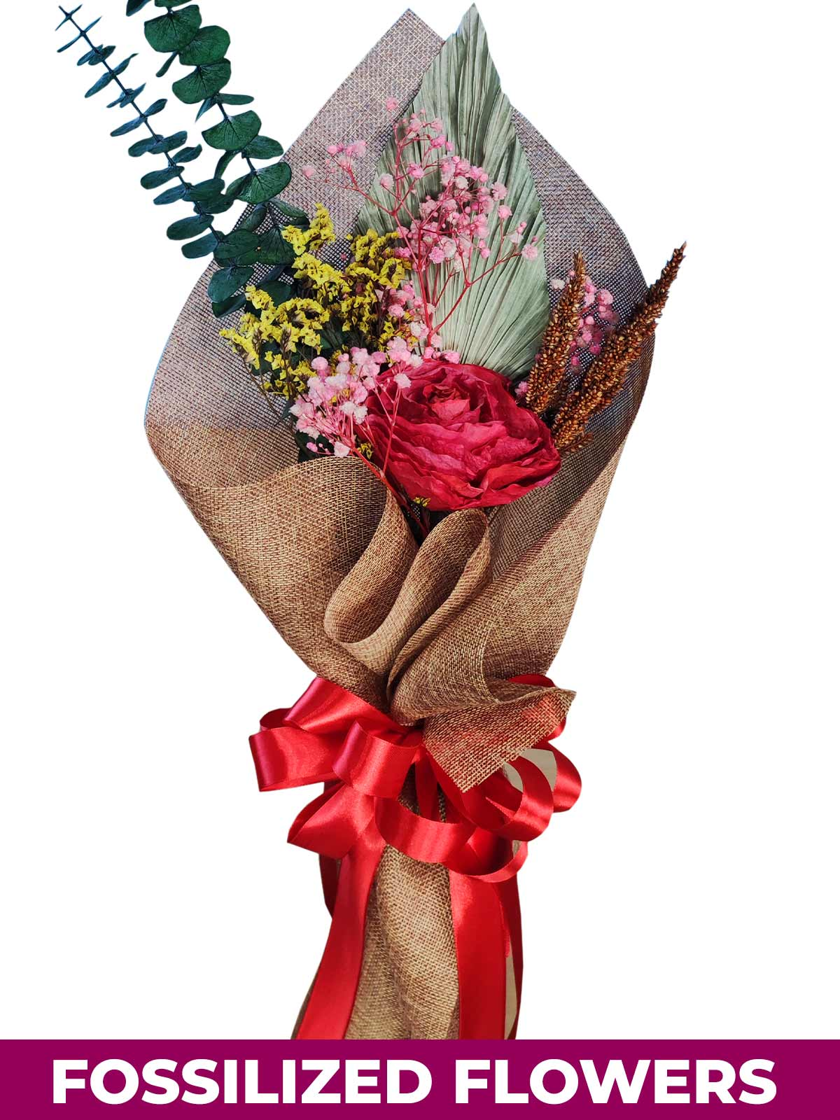1 Dried Red Roses Burlap CH Province