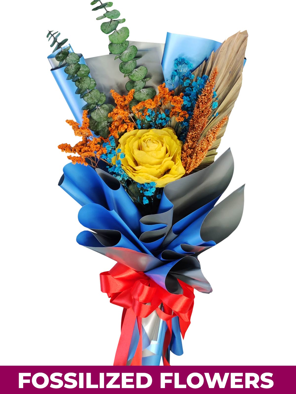 1 Dried Yellow Rose Blue/Silver