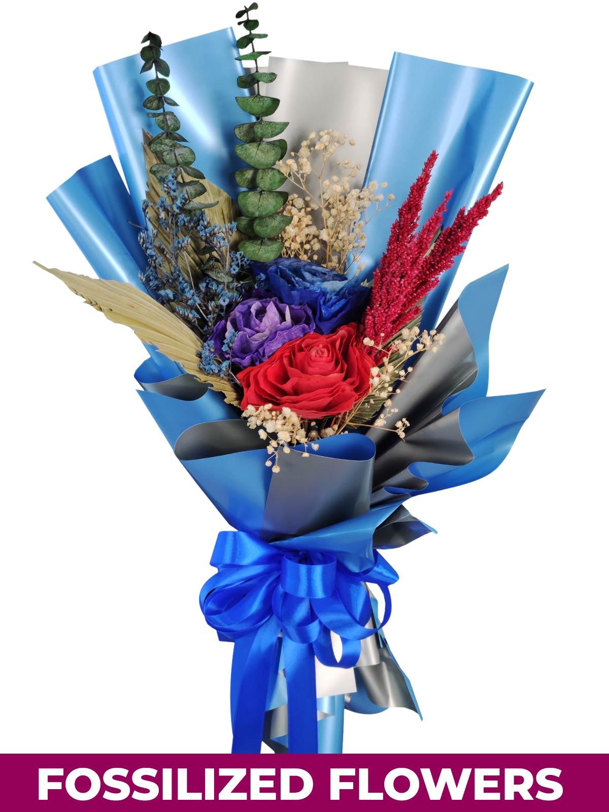 Dark Dried Roses Blue/Silver