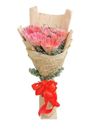 10 Fuchsia Pink Gerbera Kraft Jute