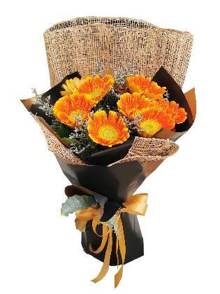 Orange Gerbera BG Burlap