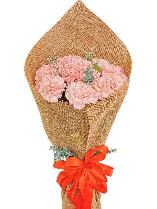 PINK Carnation Burlap ch