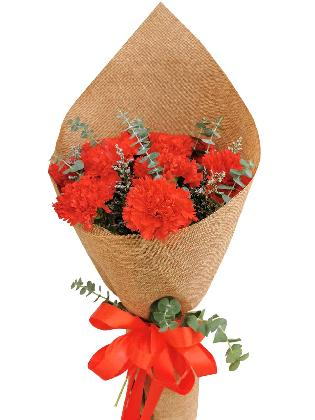 RED Carnation Burlap ch