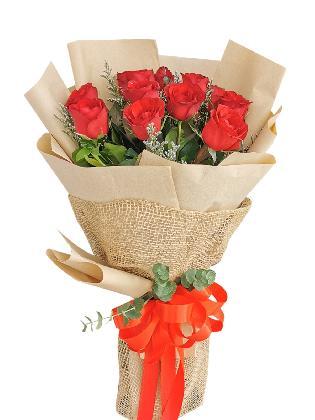 Red Roses 12 Kraft Jute