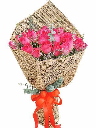Pink Roses 36 Burlap PH