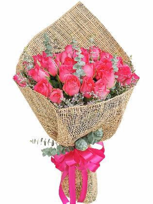 Pink Red Roses 36 Burlap PH