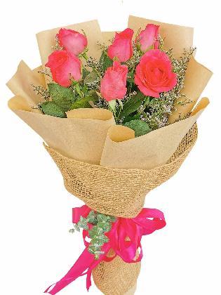 Pink Roses 6 Kraft Jute