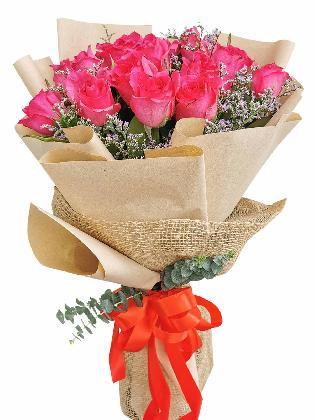 Pink Roses 24 Kraft Jute