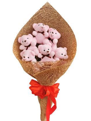 Pink Bears 6 Burlap CH