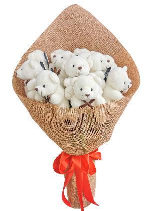 Small White Bears 12 Burlap CH