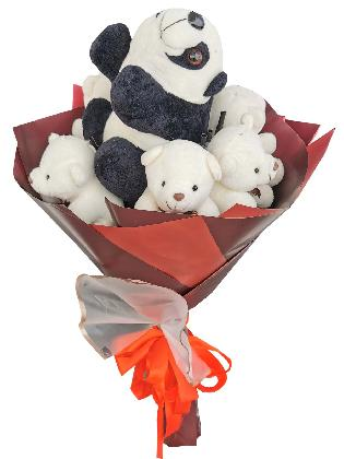 Panda and Bears Maroon White
