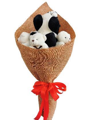 Panda and Bears Burlap CH