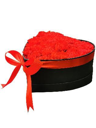 124 Red Carnation Heart Love Box 002